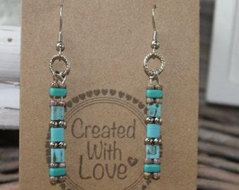 Earrings long beaded boho earrings bohemian gypsy chic dangle earrings gift for her trendy jewelry everyday jewelry blue green turquoise