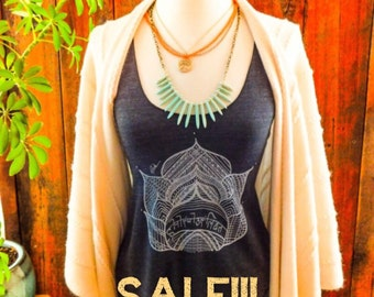 Sale!! 15% off! Lotus yoga tank top-racer back style- with the sanskrit words honor your light in the center