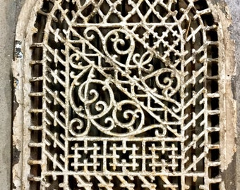 Arched Antique Wall Grate, Architectural Salvage, painted