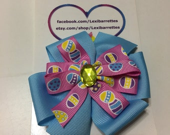 Blue and pink Easter egg bow
