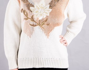 Vintage flower sweater - cream - Undershirts - 80s sweater - women's sweaters - women's vintage - vintage 1980 - vintage size M-L