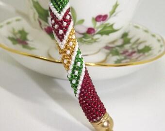Bracciale di perline/Bracciale fatto a mano/Bracciale uncinetto/Bracciale al beads crochet/Beads crochet bracelet/Green,red,yellow bracelet