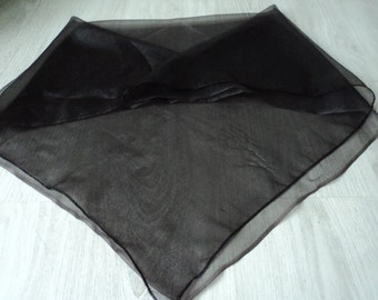 REDUCED - French vintage sheer black scarf (03817)
