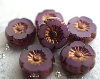 Royally Mauve, Flower Beads, Czech Beads, N2333