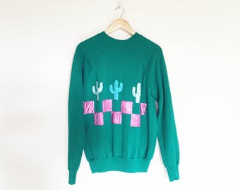 Kelly Green Lamé Cactus Hand Made Applique Sweatshirt