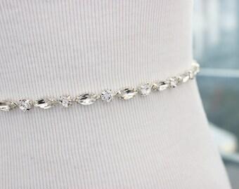 Rhinestone Bridesmaid Belt, Bridal Sash Belt, Wedding Dress Belt, Thin Crystal Belt, Bridal Sashes and Belts