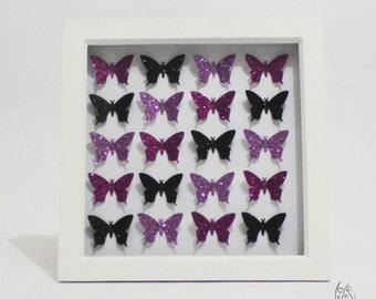"Butterfly 20 Flutter Picture Frame Glitter Purple & Black  9x9"""