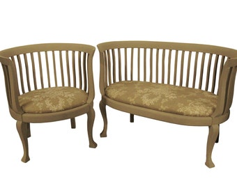 Gustavian Style Settee and Chair Fireside Settee and Chair French Painted Toile Sette and Chair French Farmhouse Settee and Chair