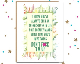 Mature, Card for Twins, Baby Shower Card, Card for New Mom, Twins Baby Shower, Twin Baby Gift, Baby Shower Gift, New Baby Gift, Card for