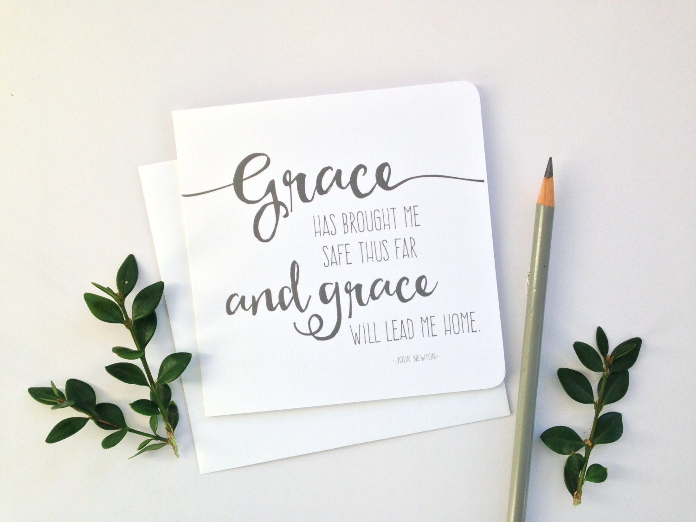 Amazing Grace Card Greeting Card 5x5 Blank Card Christian