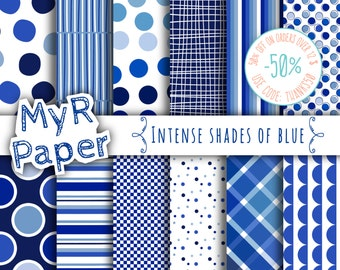 "Blue Digital Paper: ""Intense Shades of Blue"" patterns pack & backgrounds with stripes and polka dots in blue glitter and fresh white"