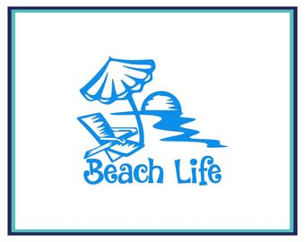 Beach Life Decal - Beach Car Decal -  Laptop Decal - Beach Life Yeti Decal - Sunset Beach Decal - Ocean Decal - Beach Sticker -