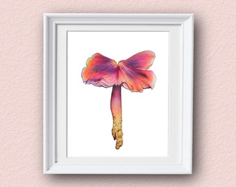 Mushroom Art Print - Pink - Mushroom Art - Giclee Art Print