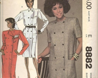 80s Vintage McCalls Diahann Carroll 8882 Double Breasted Coat Dress Sewing Pattern Size 12