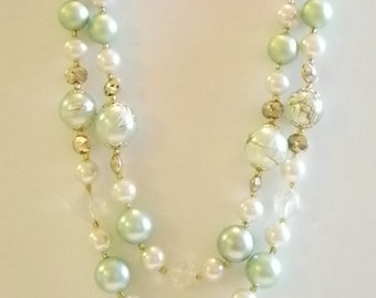 Beaded Pale Green White Pearl Necklace - Japan