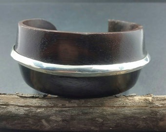 Sterling Silver and Polished Albasia Wood Cuff Bracelet, Modern design jewelry