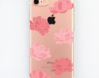 Floral iPhone 7 Case Clear iPhone 7 Case Flowers Transparent Flower iPhone 7 Case Beautiful Iphone 7 case Pink Phone case Peonies case