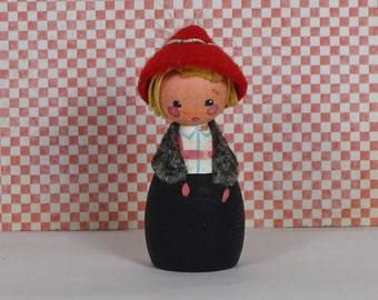 Vintage Austrian wooden doll girl 1960s