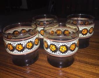 Vintage floral amber glass juice glasses, set of 4