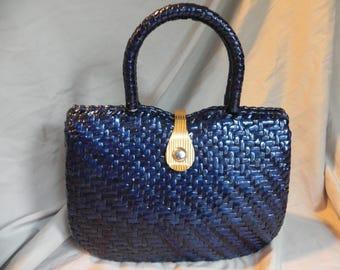 Vintage Nav 1980's Navy Blue Wicker Straw Handbag Box Purse