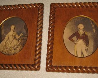 "2 small Vintage George and Martha Washington Barley Twist Wood framed  prints 10.5""  x 9"""
