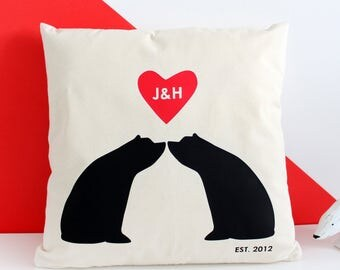Bear Couple Silhouette, Personalised Cushion Cover