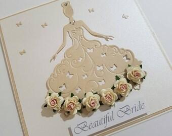 Beautiful Bride Card - Butterfly Dress
