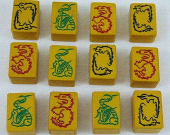 "Lot of 12 ""Chinese Bakelite"" Mah Jong Mah Jongg Tiles DRAGONS SNAKES"