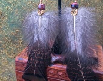 Wild Turkey Feather Earrings