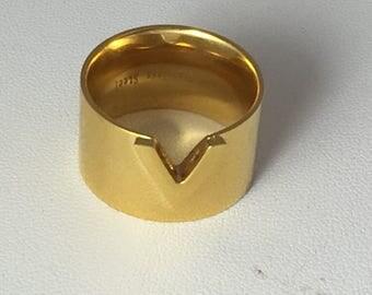 Gold vermeil chevron ring