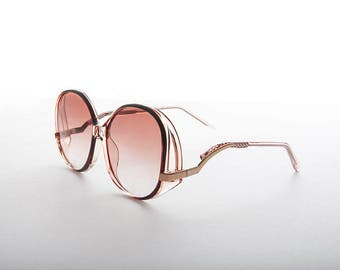 Oversized Boho Chic Vintage Sunglass with Wave Metal Temple - Sophia