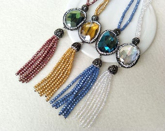 4 Strands Crystal Zircon Paved Stone Necklace With Glass Crystal Beads Tassel,Crystal Chain Jewelry Handmade Jewelry Necklace NK50