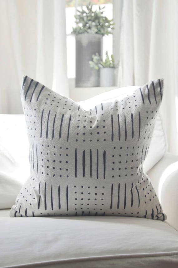 Mud Cloth style pillow cover, shown in 20x20 and available in 16x16, 18x18, 20x20, 16x24 and 16x26.