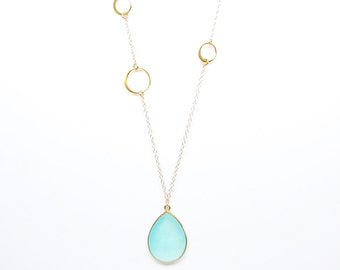 Gemstone Drop Necklace - Pendant Necklace - Layering Necklace - Aqua Chalcedony