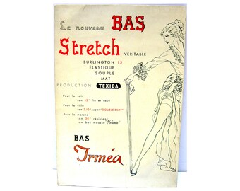 Antique French ad sign, For TEXIBA tights, stockings, Cardboard plaque, Fashion POS, Clothing shop decor, Wall ornament, 1950s
