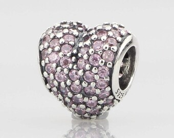 New Authentic Pandora 925 ALE Sterling Silver Pink Heart Pave 791052PCZ