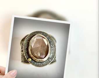 faceted rose cut silvery peach moonstone ring, sterling silver and 22kt gold
