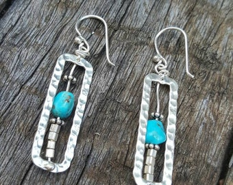 Hilltribe Silver Earrings. Unique,handcrafted tribal style earrings. Features Chrysocolla Gemstone.