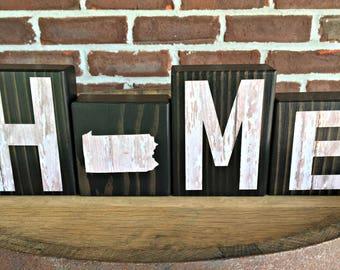 Pennsylvania Home Blocks | Rustic Wooden Letter Blocks | Farmhouse Decor | Housewarming Gift | Gift Under 20 |  | Pennsylvania Map Decor