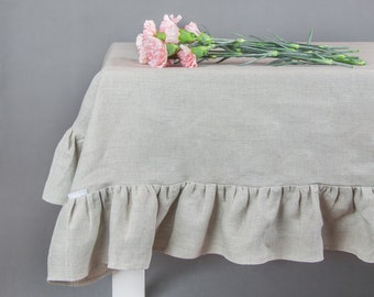 Linen Ruffled tablecloth, natural linen tablecloth, rustic tablecloth, custom size tablecloth, tablecloth with frill,