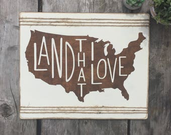 memorial day sign, 4th of july, independence day, patriotic decor, military family, USA, Land that I love, stars and stripes, wooden sign