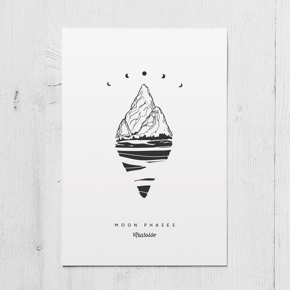 Poster Art Print - Moon Phases - Blackwork Series A5 Size - Moon Phase...