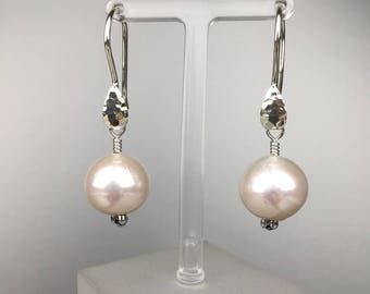 SOLD! Custom Order Available. Freshwater Pearl Earrings in Sterling Silver