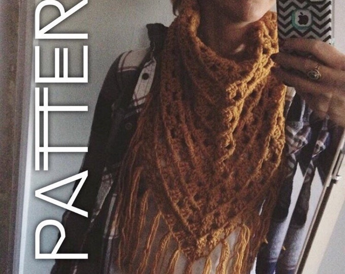 Crochet Pattern for Triangle scarf, Triangle wrap, Triangle Shawl, Oversized Crochet Scarf, Bandana Scarf pattern, Easy Scarf Pattern