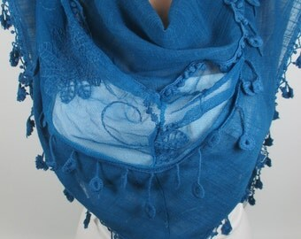 Tulle scarf Teal Blue Scarf Shawl Tassel Scarf Fall Winter Spring Summer Scarf Women Fashion Accessories Gift Ideas For Her Christmas Gifts