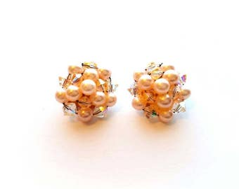 Vintage Pink Crystal Glass and Faux Pearl Beads Cluster Earrings