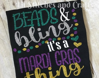 Beads and Bling It's a Mardi Gras Thing Youth Adult Shirt
