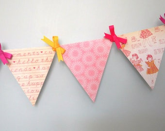 Sugar and Spice Mini Paper Pennant Banner / Baby Shower / First Birthday / Girl / Nursery Decor / Pinky and Yellow / Bunting / Garland