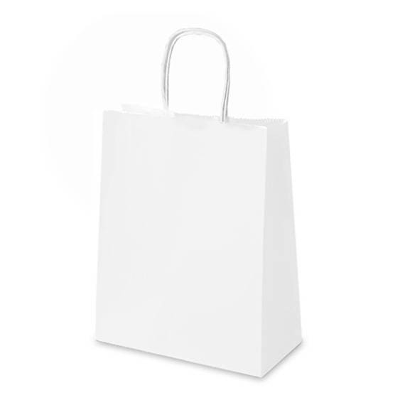 5 x Kraft Paper Bags with Handle / White / Kraft Shopping Bags ...