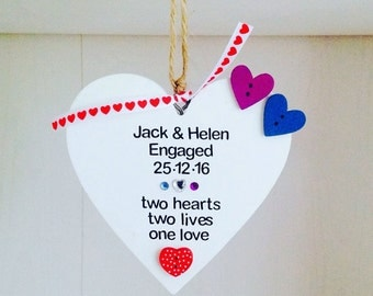 Personalised Handmade Engagement Plaque - Personalised Engagement Gift - Fiance Fiancee Personalised Engagement Gift